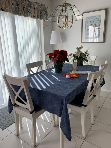 Dining area with sliding patio doors