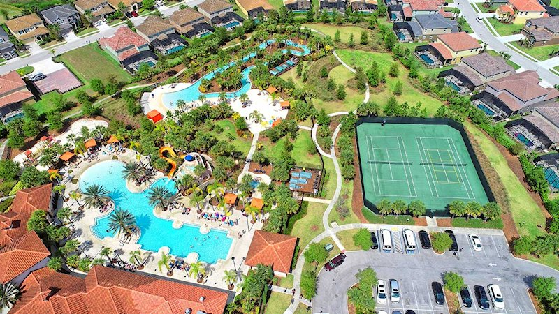 Resort pool (with slide), lazy river, and tennis courts