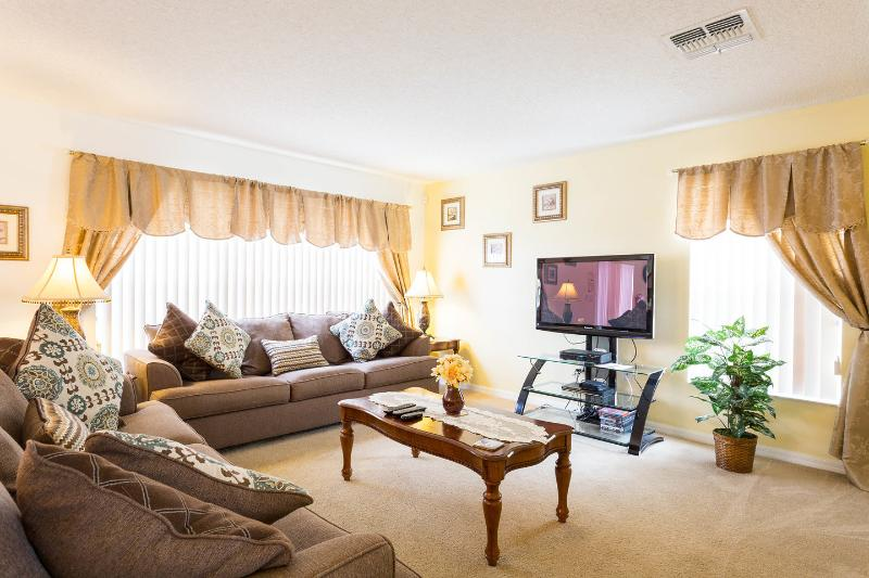 family room with over 300 channels of tv and the latest tv