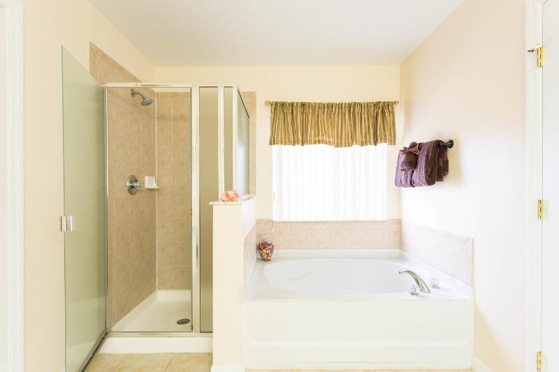 Master bathroom with twin sinks and very large walking wardr