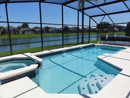 Pool, spa and lake beyond
